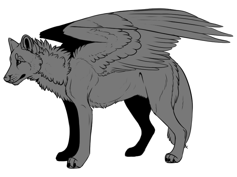 Winged Wolf Lineart