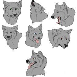 F2U - Wolf/Canine Headshots - Lineart by Trash-Klng