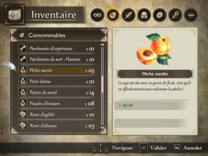 Menu - Inventaire