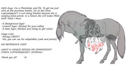 Horse Scratching The Shoulder Lineart - P2U by Juzoka-Vargulf-Eqqus
