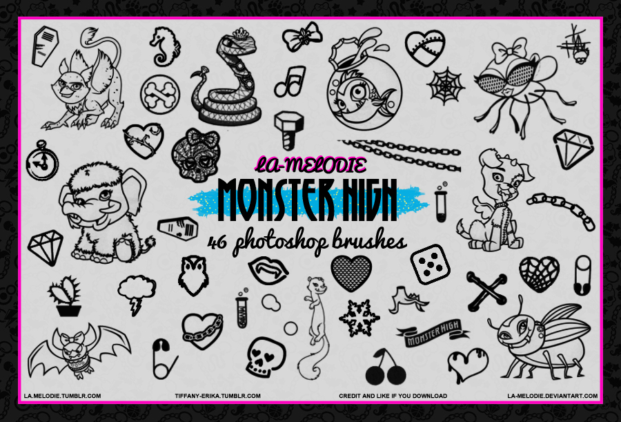 46 Monster High Brushes by Tiffany-Erika by La-melodie on DeviantArt