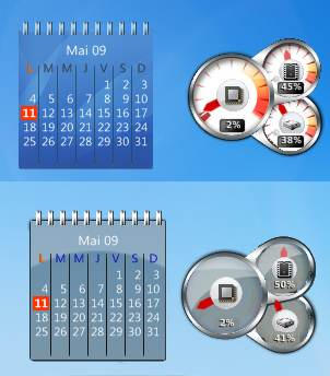 CPUmeters+calendar rainmeter by Joack