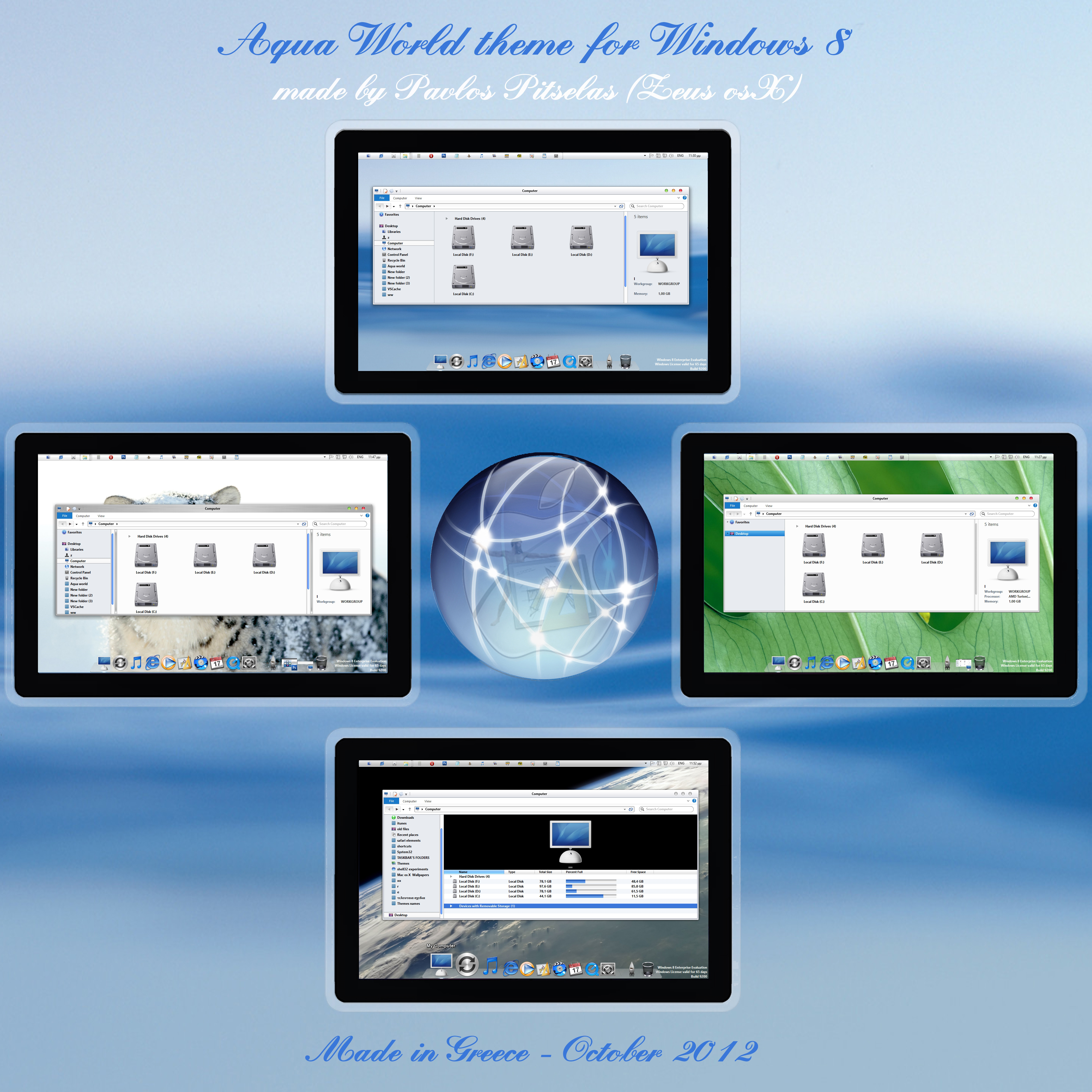 Aqua World os x style Theme for Windows 8 rtm