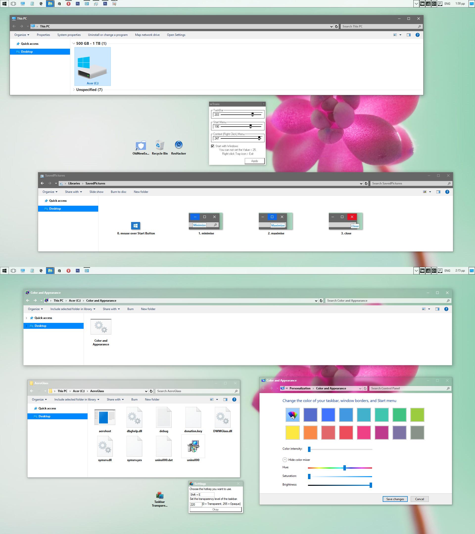 Aero White Taskbar Theme for Windows 10 rtm