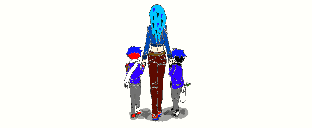A mother and her children by demonxslayer12