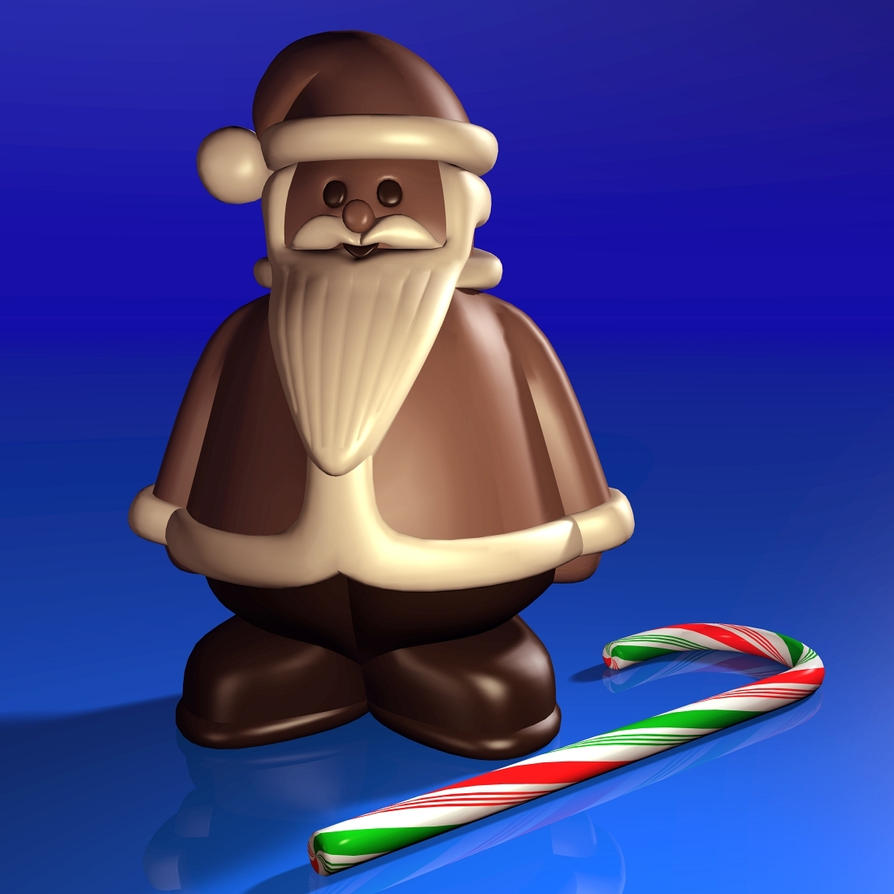 Chocolate Santa and Candy Cane by xmas-kitty