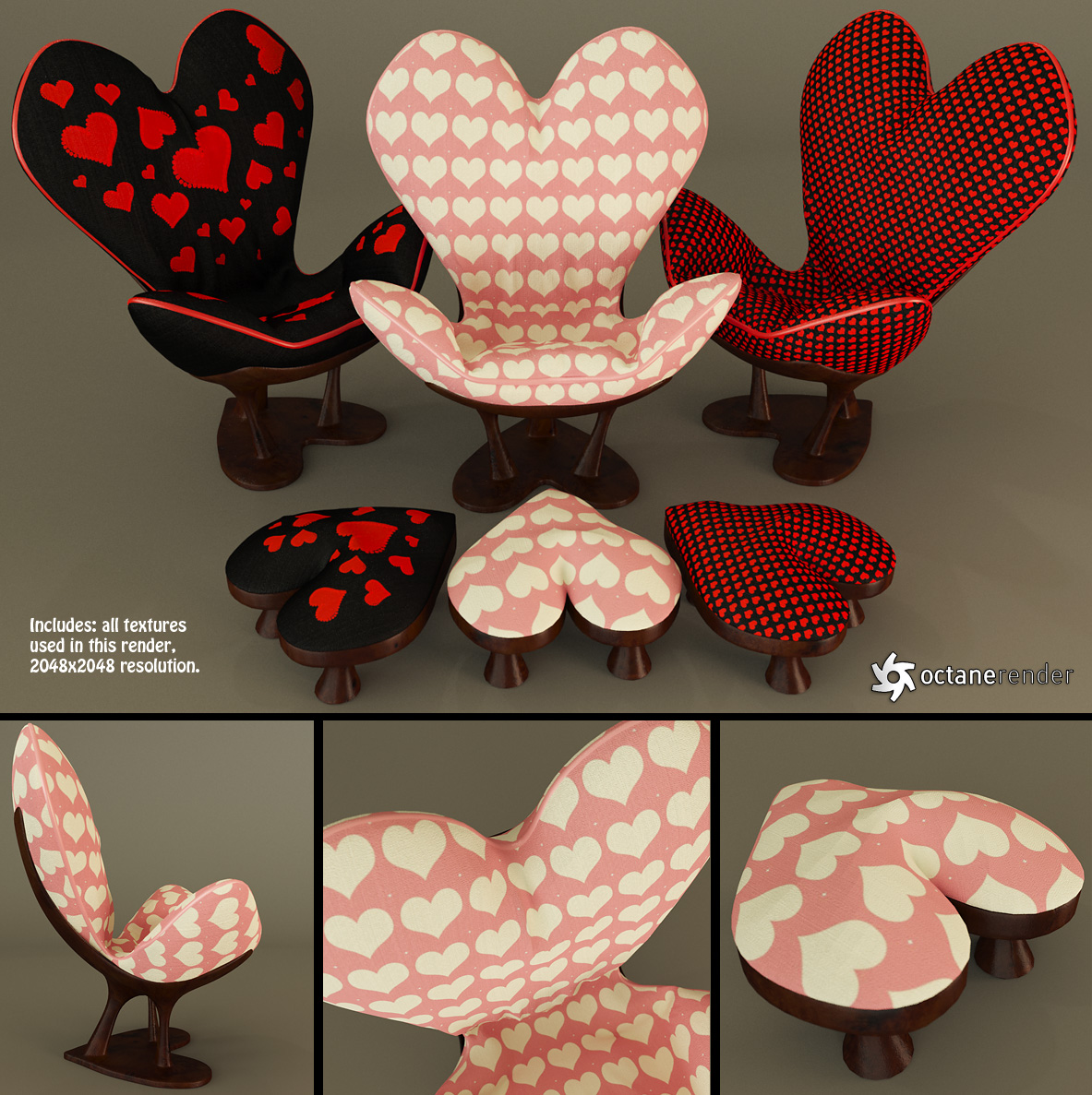 Sweetheart Chair and Footstool (Free) by LuxXeon on DeviantArt
