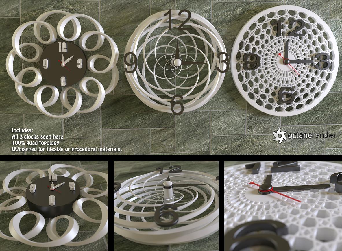Modern Wall Clocks (free models)