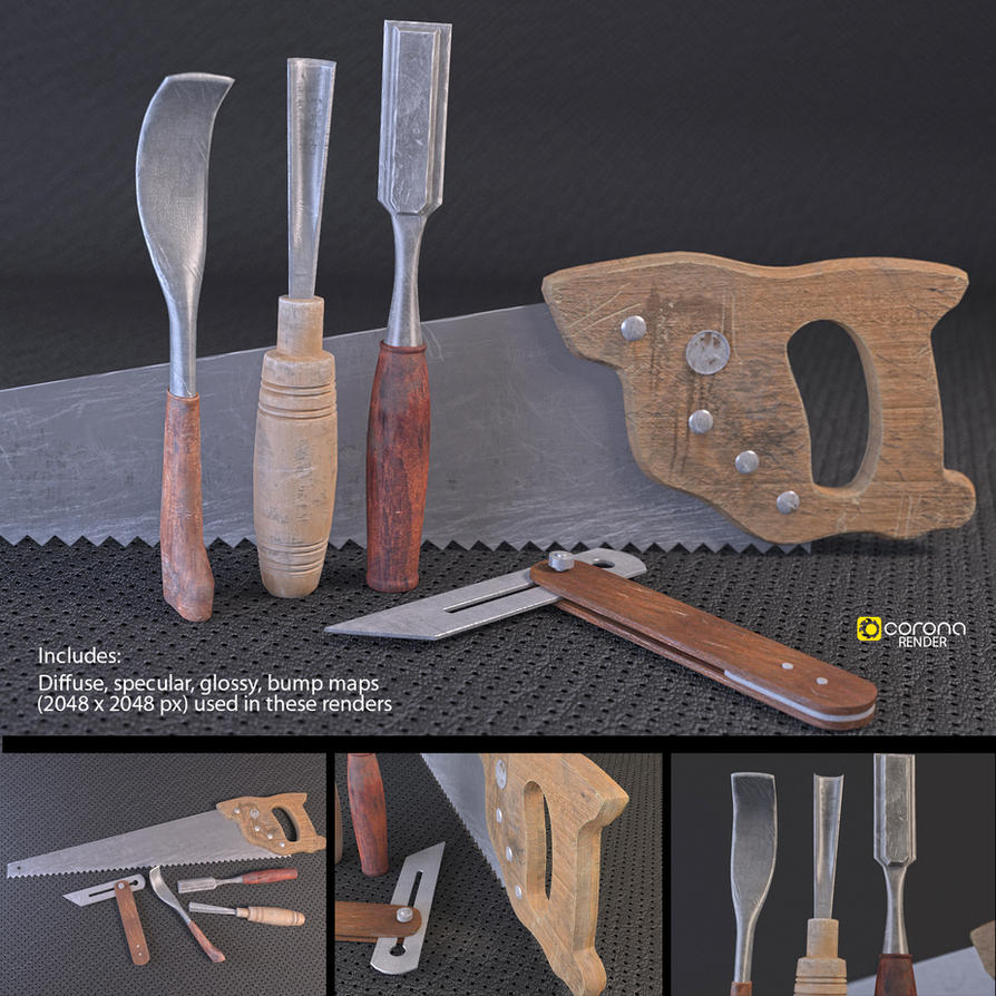 Woodwork tools set free 3d models by luxxeon on deviantart for Gardening tools 3d model