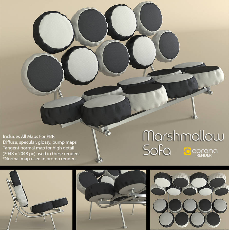 Free 3D Model: Marshmallow Sofa by LuxXeon on DeviantArt