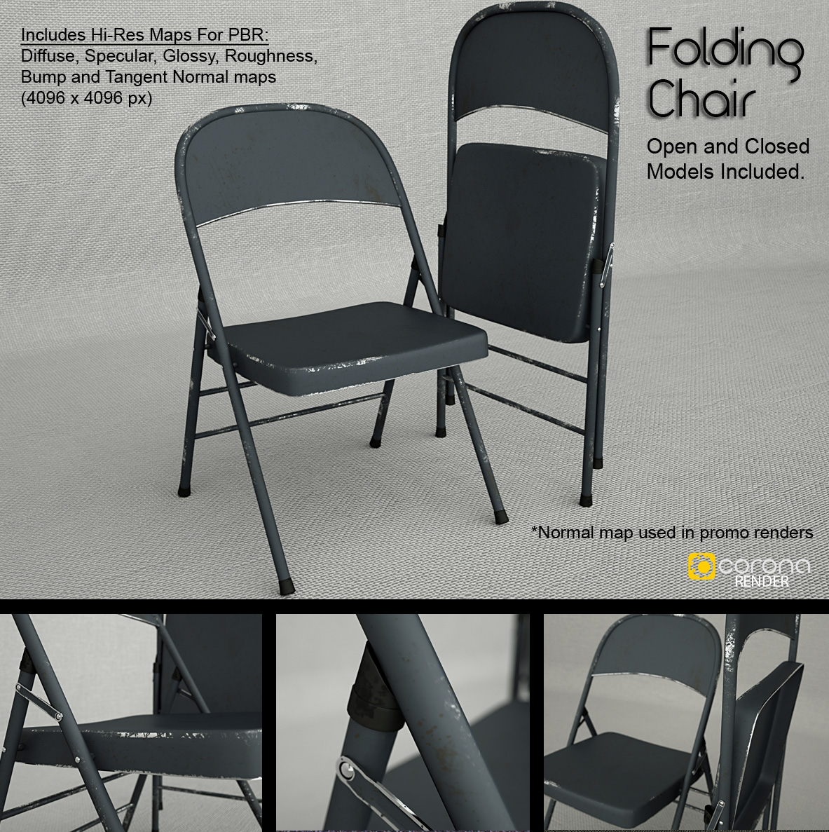 black metal folding chairs. Free 3D Model: Metal Folding Chair By LuxXeon Black Chairs T