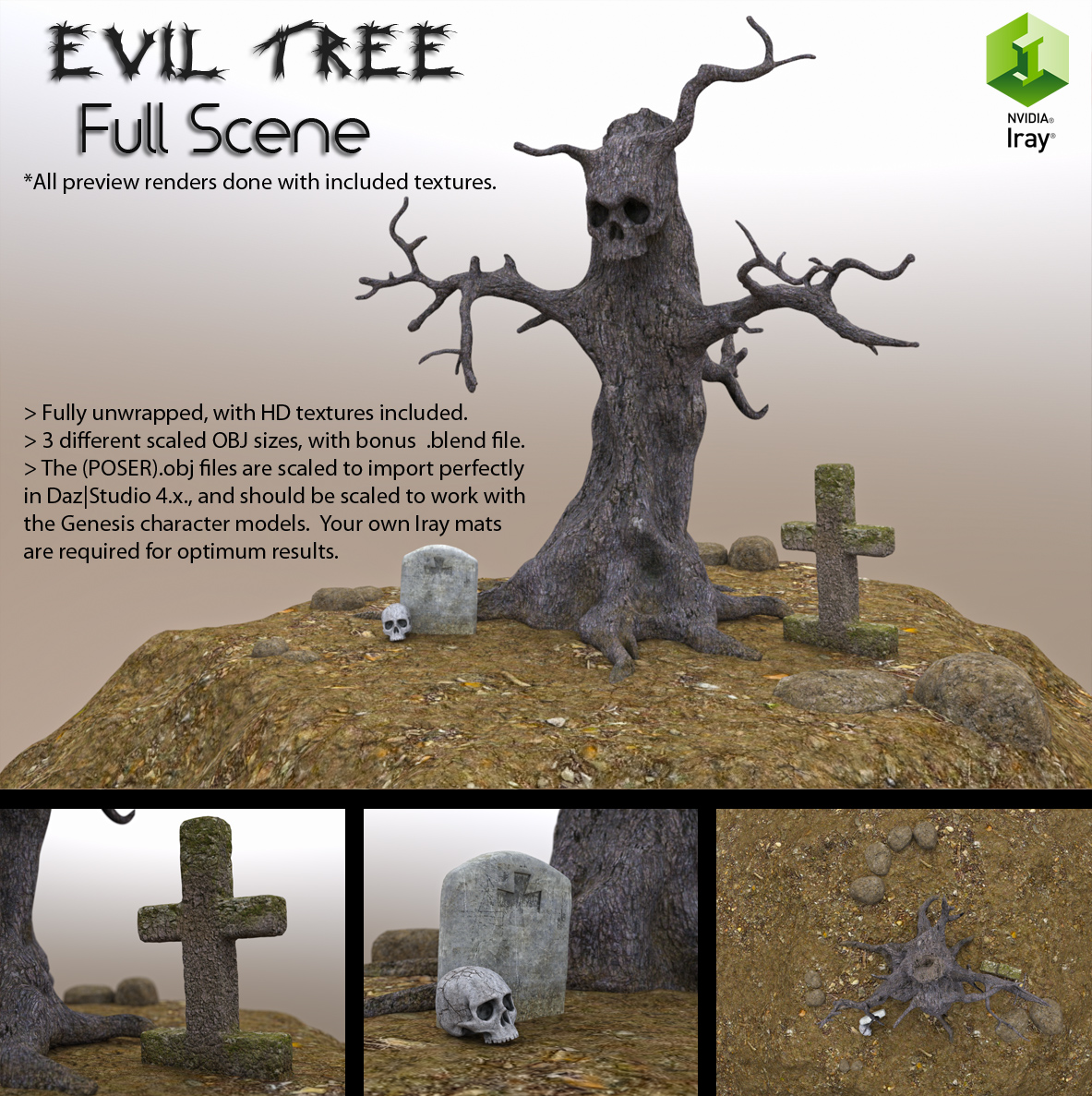 Free 3d Model Evil Tree Full Set By Luxxeon On Deviantart - free 3d models skull