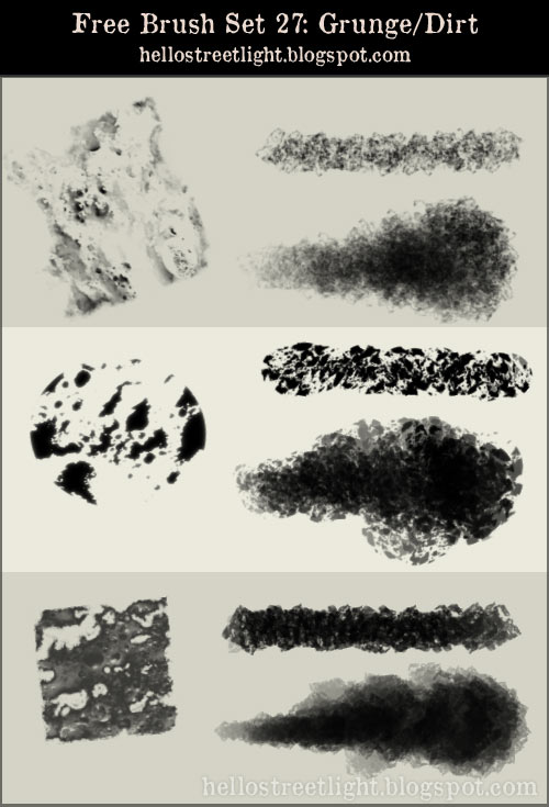 Free Brush Set 27: Grunge, Dirt by hellostreetlight