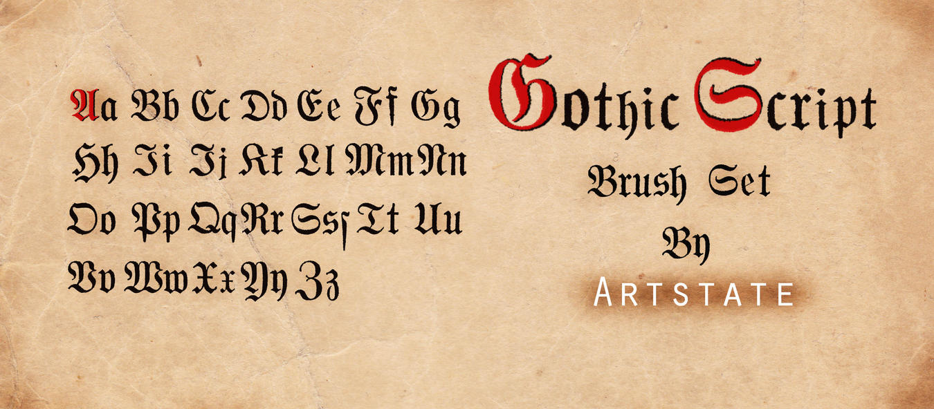 Gothic Script Brush Set By Artstate