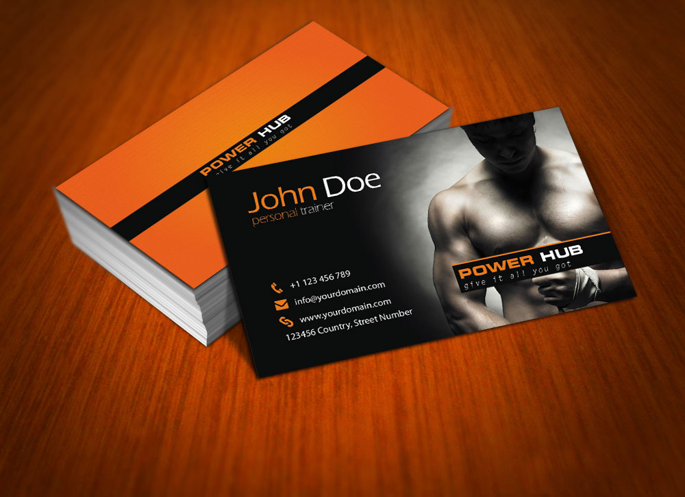 Power Hub Gym Free PSD Business Card by mct2art