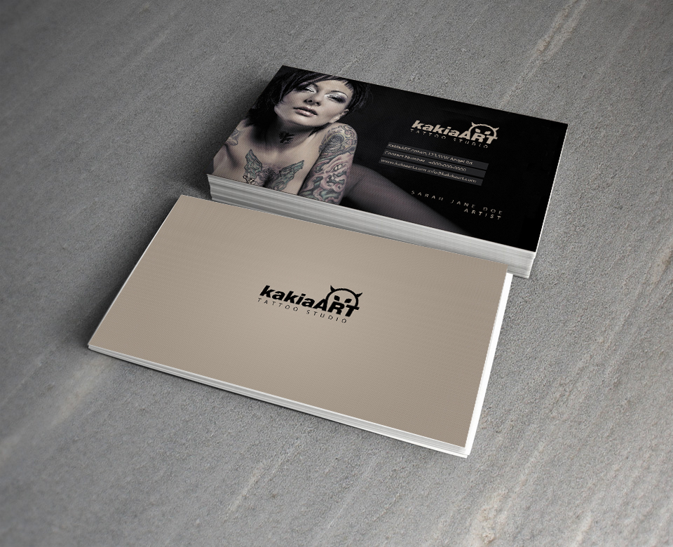 Kakia Tattoo Studio free PSD Business Card by mct2art on DeviantArt