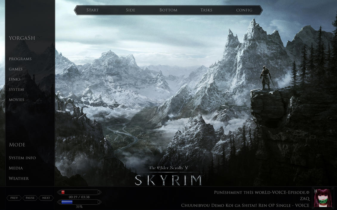 Skyrim Rainmeter WIP by yorgash