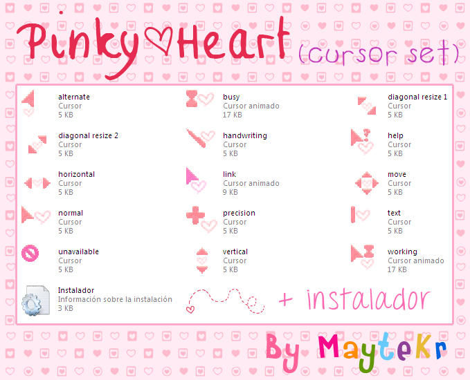 Pinky Heart cursor set by MayteKr by MayteKr
