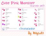 Cute Pink Monster cursor set by MayteKr