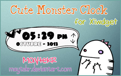 Cute Monster Clock for XWidget by MayteKr