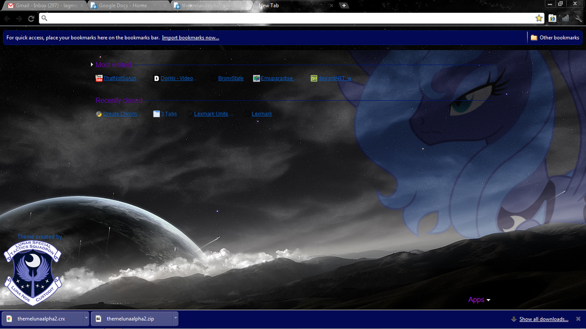 Chrome Theme - MLP Luna by Lagmobile
