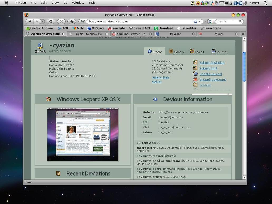 Google themes leopard - Windows Leopard Xp Os X 1 0 By Cyazian