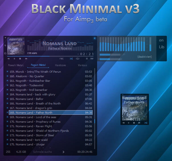 Black Minimal v3.1 for Aimp3 by D-Passion