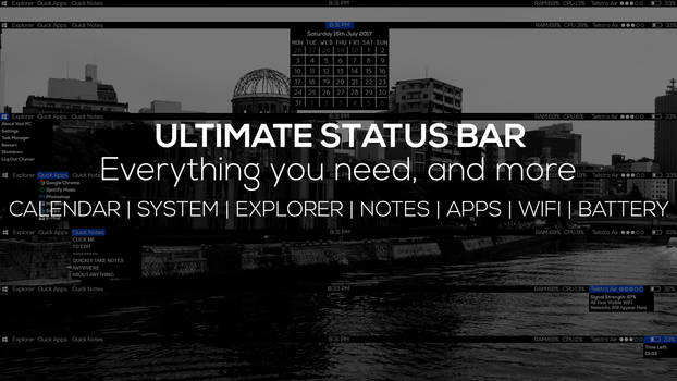 UltimateStatusBar - Status Bar Windows - Rainmeter