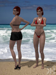 Jane Shepard Red and Black Bikini (XPS)