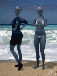 Liara Blue and White Bikini (XPS)