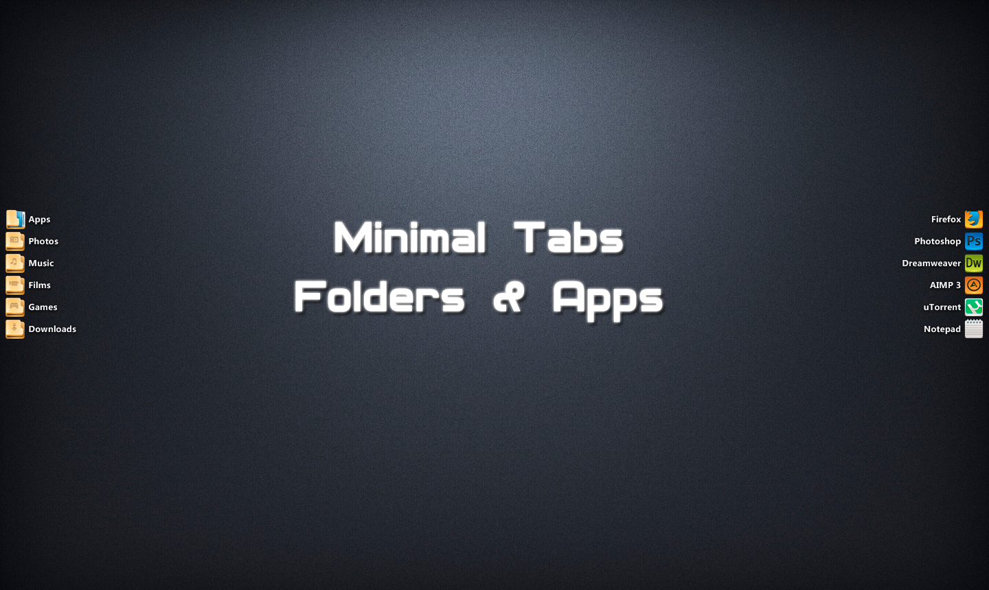 Minimal Folders+Apps Tabs For XWidget by Kamaz-Z