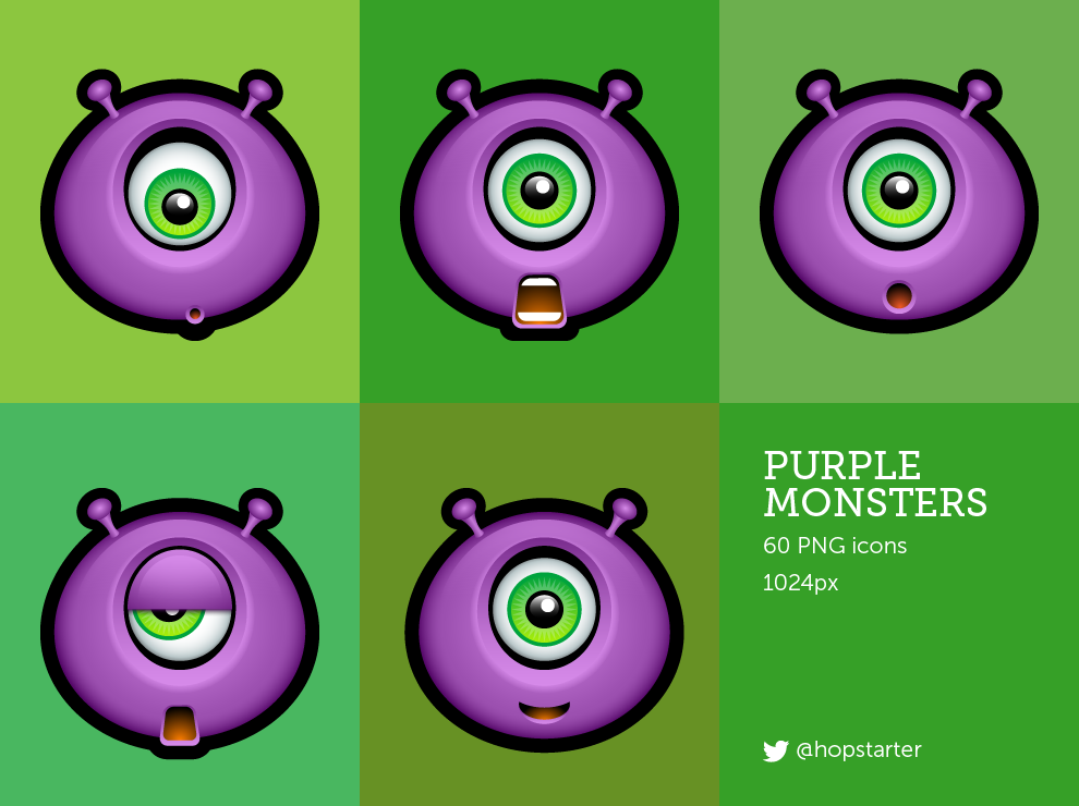 Purple Monsters by hopstarter