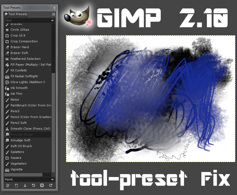 GIMP 2.10 Tool Preset Fixes by PkGam