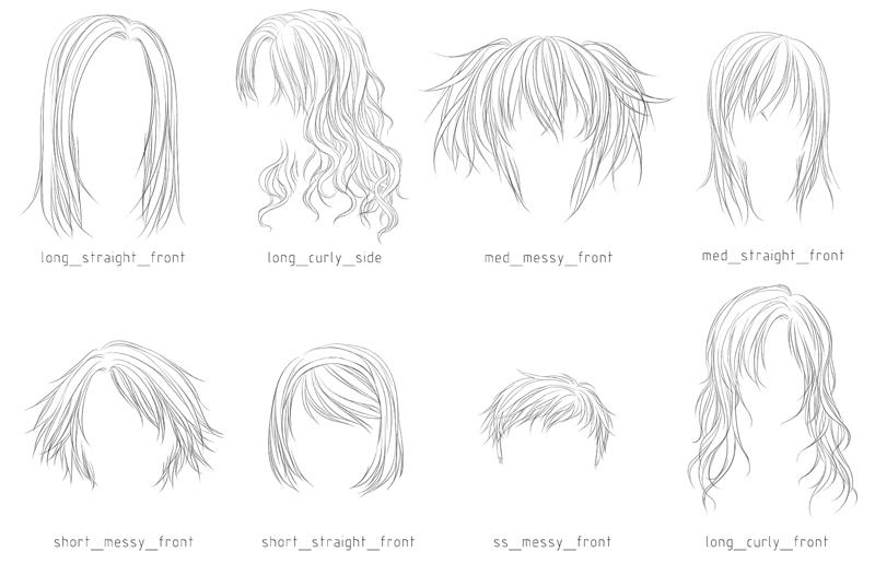 Line Art Hair : Lineart hair brushes by sm exery on deviantart