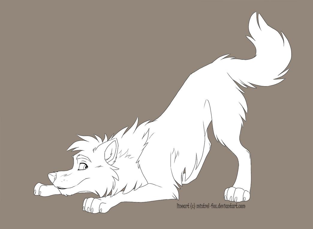 Line Art Free : Free lineart playing wolf by mistrel fox on deviantart