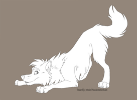Free lineart - Playing wolf by Mistrel-Fox