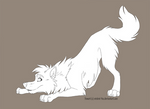 Free lineart - Playing wolf