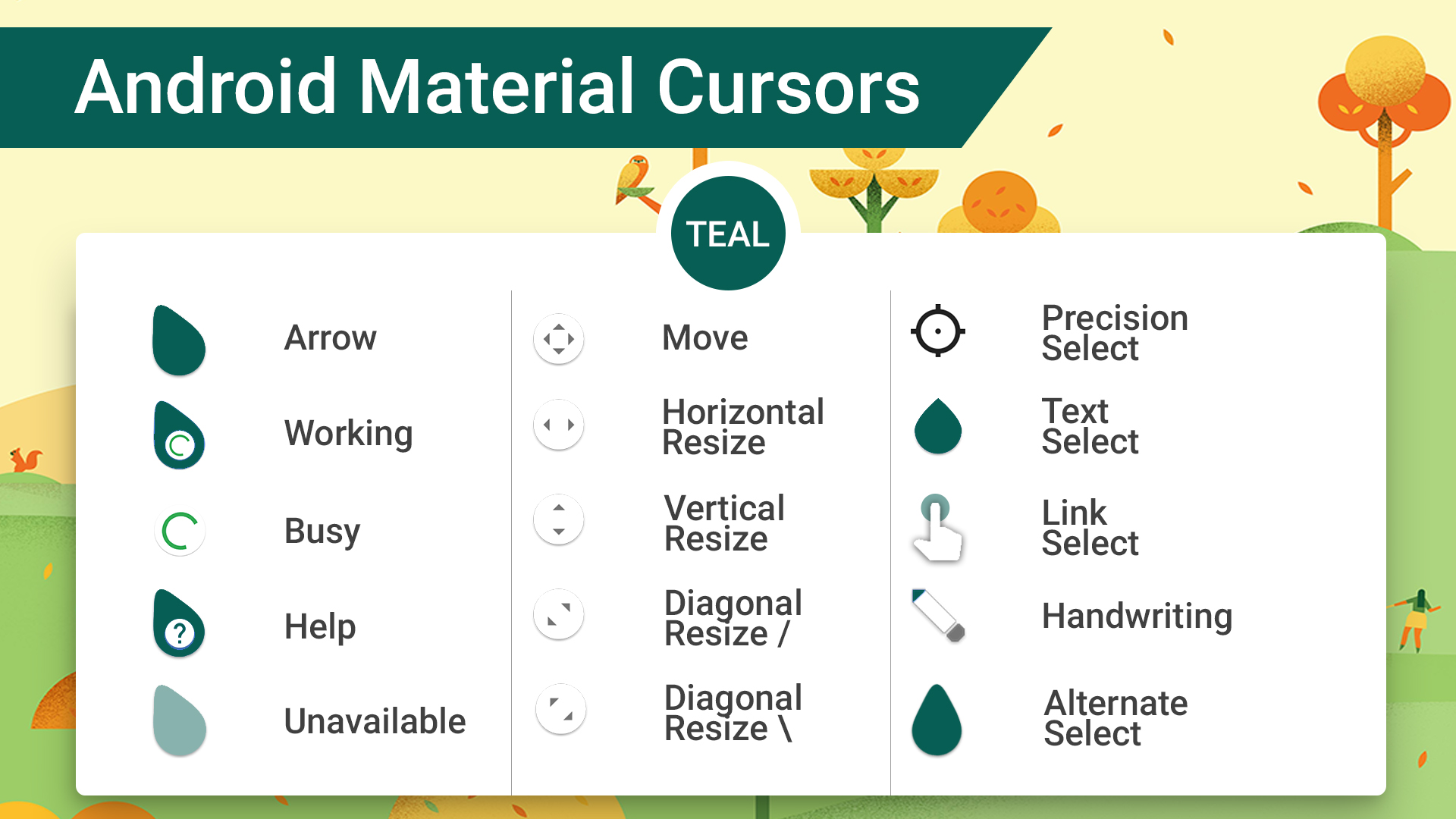 Android Material Cursors (Teal)