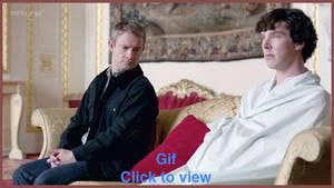 Not Wearing Pants ~ John and Sherlock Gif