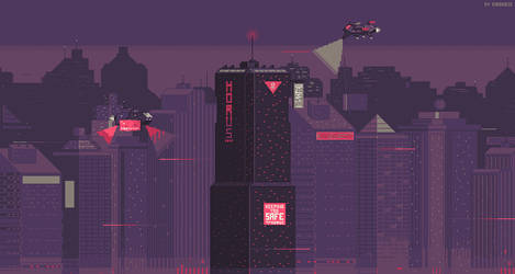 Cyberpunk city 8-bit version by kirokaze