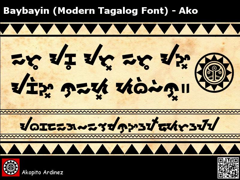 Baybayin Modern Tagalog Font - Ako by Akopito