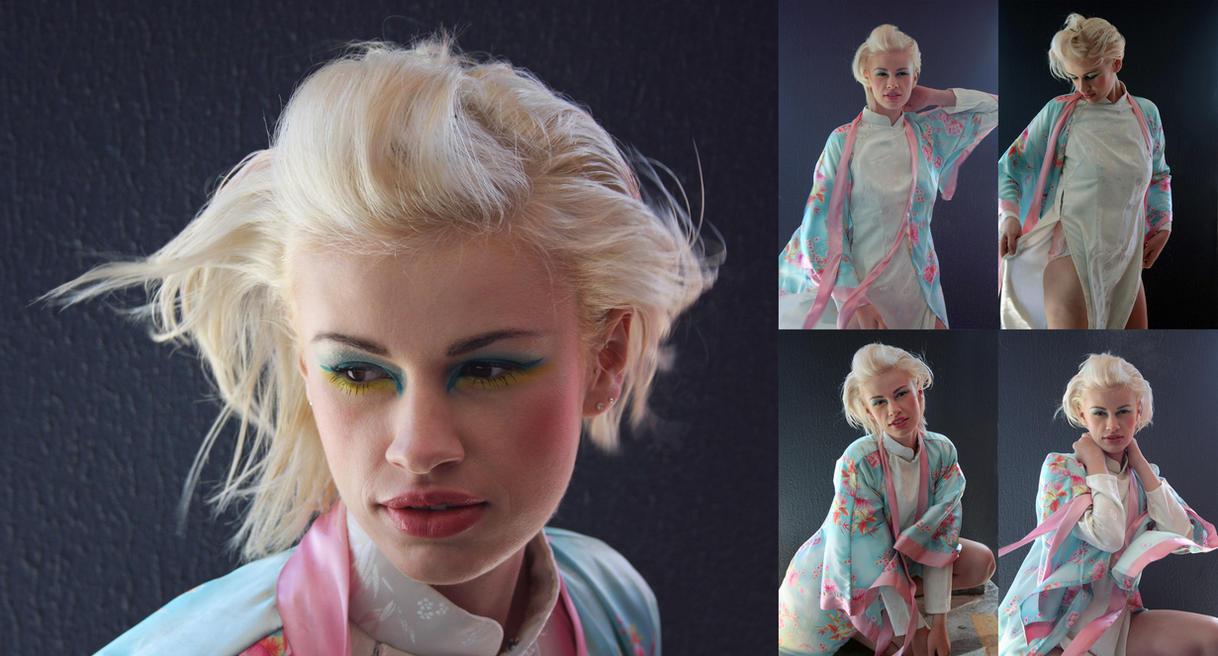 Blonde kimono set by CathleenTarawhiti