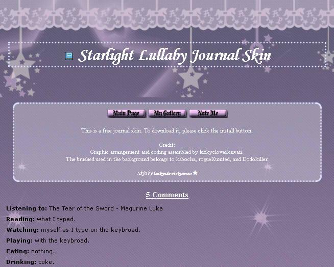 Starlight Lullaby Journal Skin by shiroyanya
