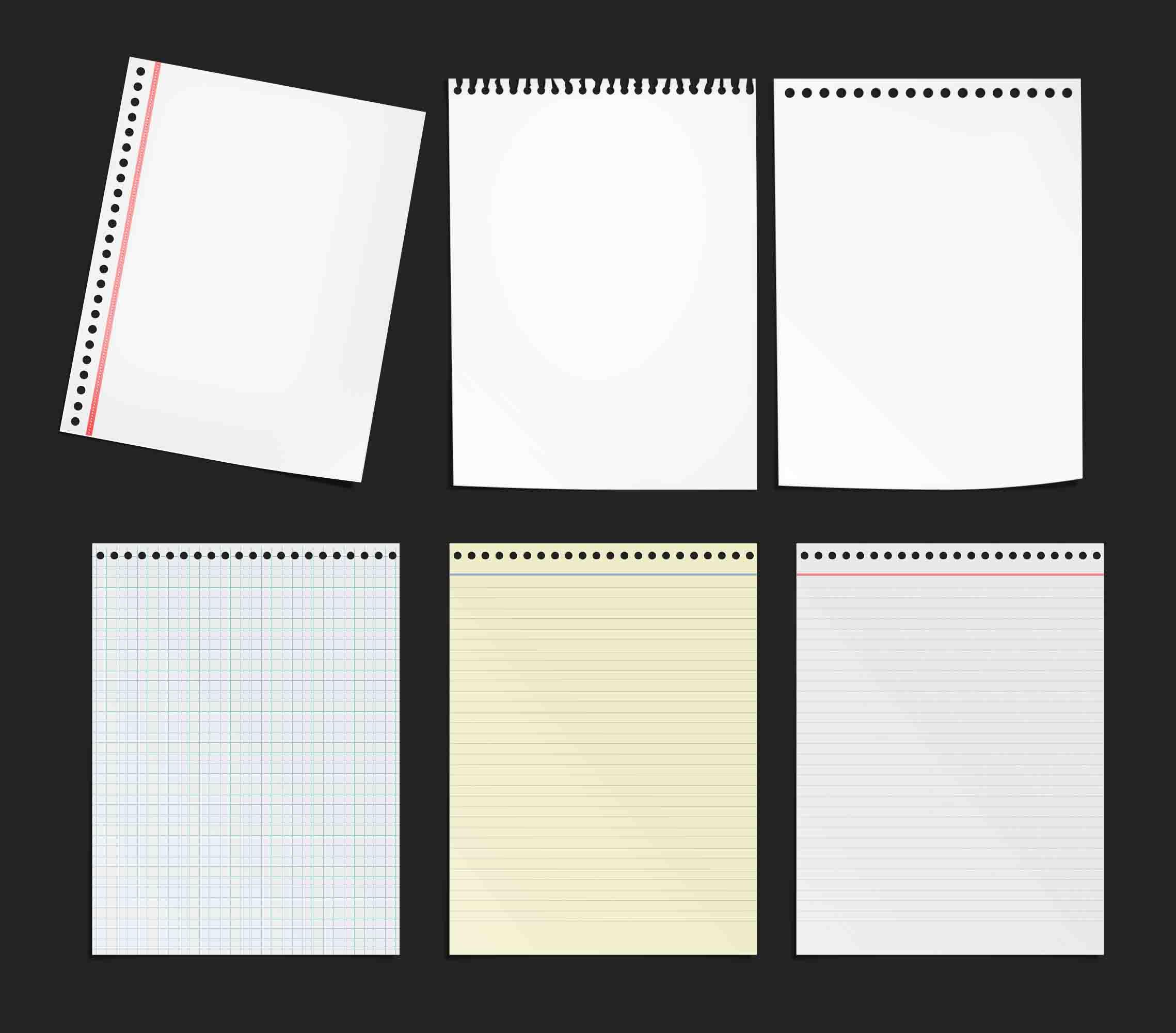 Hojas de libreta -cuaderno de notas- PSD by GianFerdinand