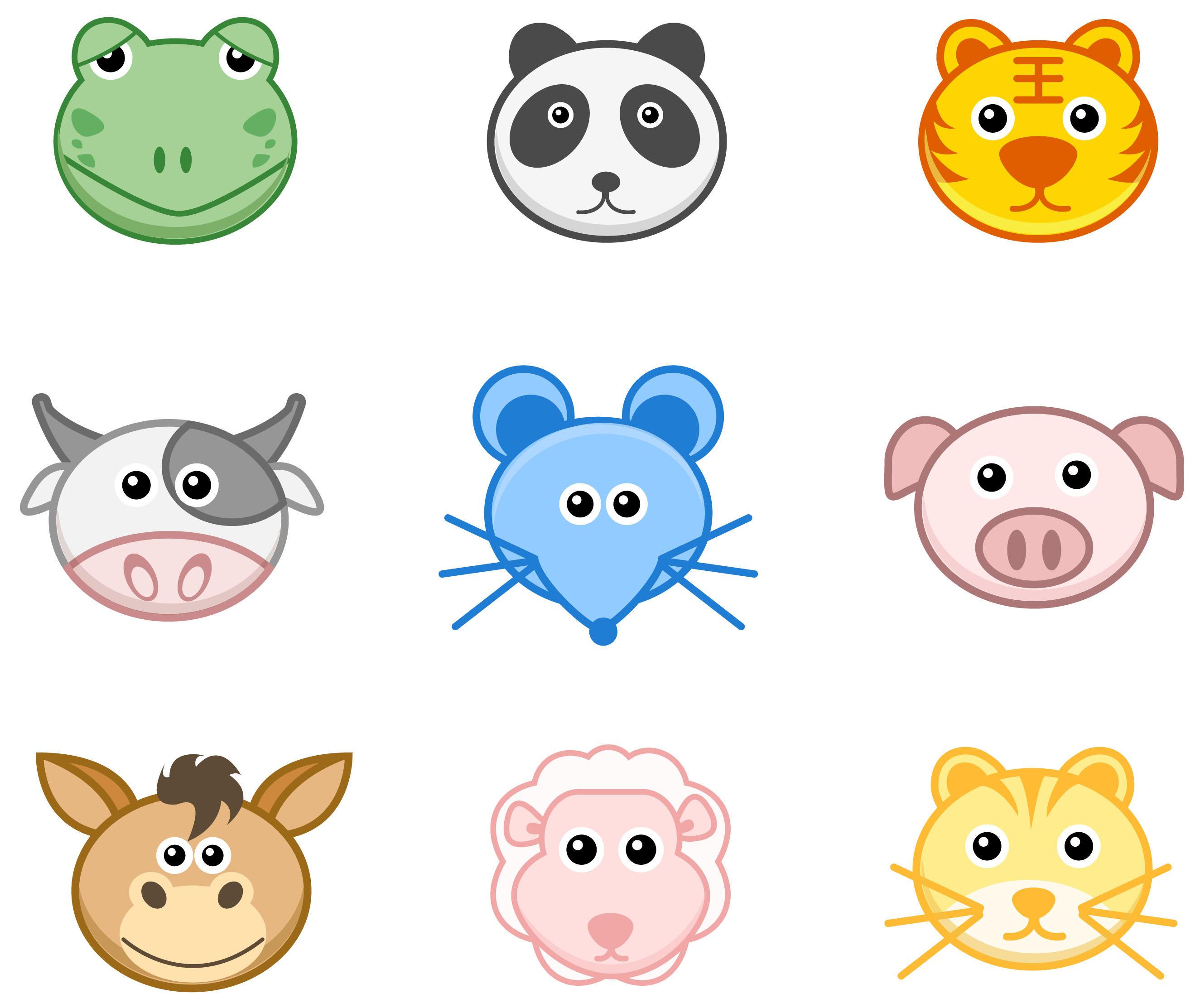 27 iconos de caras de animales ai by gianferdinand on