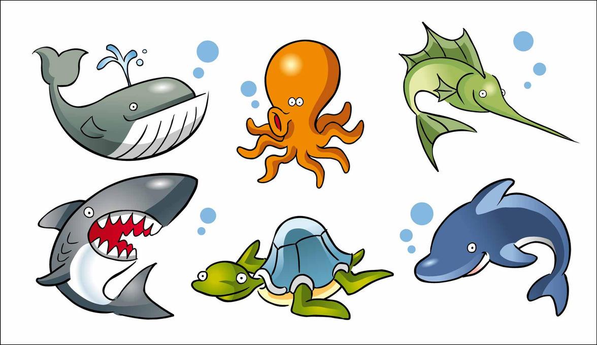 Caricaturas de animales marinos EPS by GianFerdinand on