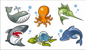 Caricaturas de animales marinos EPS