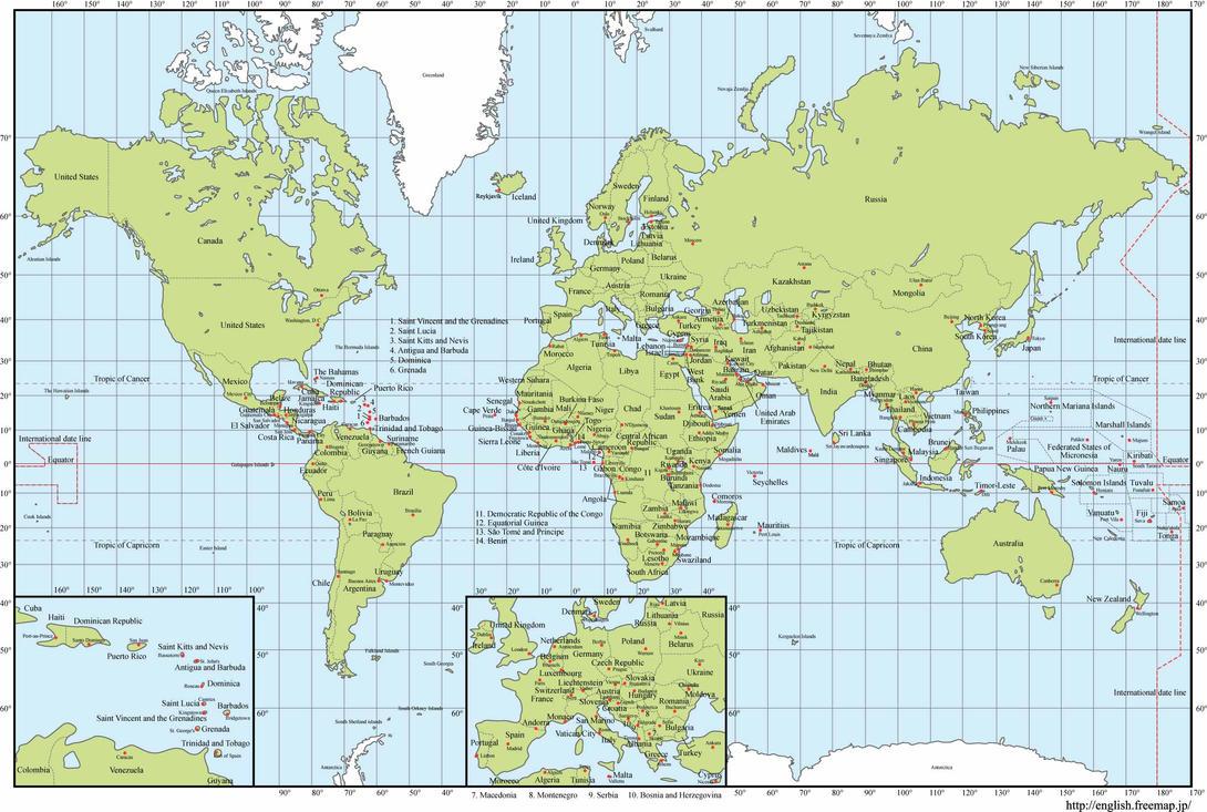 Mapa del mundo con nombres y capitales EPS by GianFerdinand