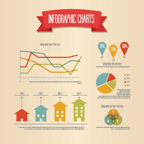 Elementos para infografia estilo retro EPS
