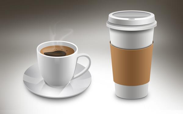 taza de cafe y vaso de cafe desechable psd by